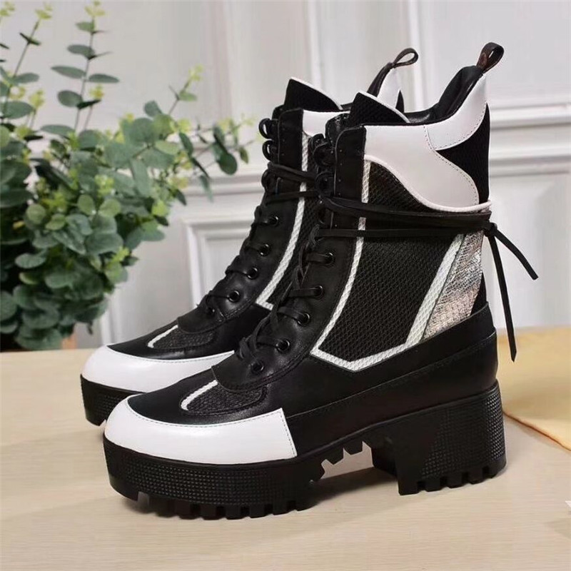 Luxury Womens Fashion Punk Style Platform Wedge Shoes Women Lace Up High Heel Ankle Boots Women Designer Thick Heel Shoes Woman high quality womens fashion high heel lace up ankle boots ladies buckle platform shoes