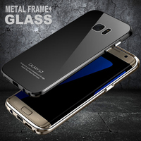 Luphie S7 Edge Case Aircraft Aluminum Metal Frame 9H Tempered Glass Back Cover Set For Samsung