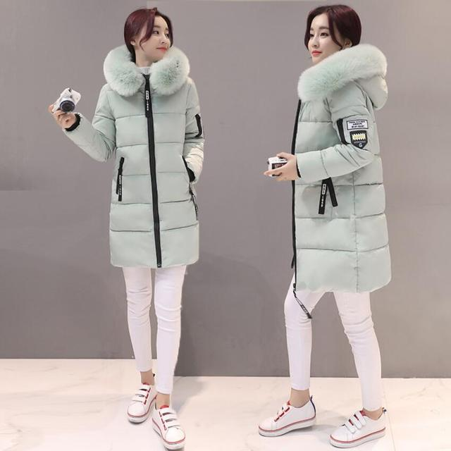 2018 women hooded warm coat winter jackets Big fur collar hats long parka cotton padded jacket female womens wadded plus size 4