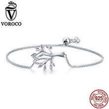 все цены на VOROCO Genuine 925 Sterling Silver Tree Of Life Chain Link Silver Bracelet For Women Wedding Gift Fine Silver Jewelry VSB010 онлайн