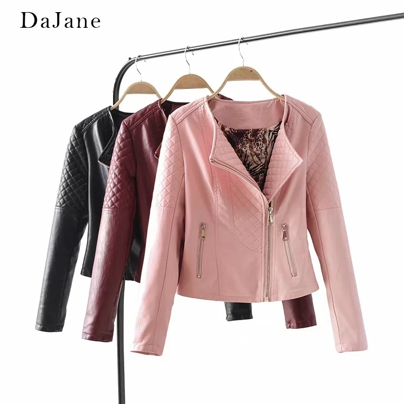 Autumn Winter New women's long-sleeved PU   Leather   Jacket long-sleeved Locomotive Manufacturers   Leather   Jacket Women