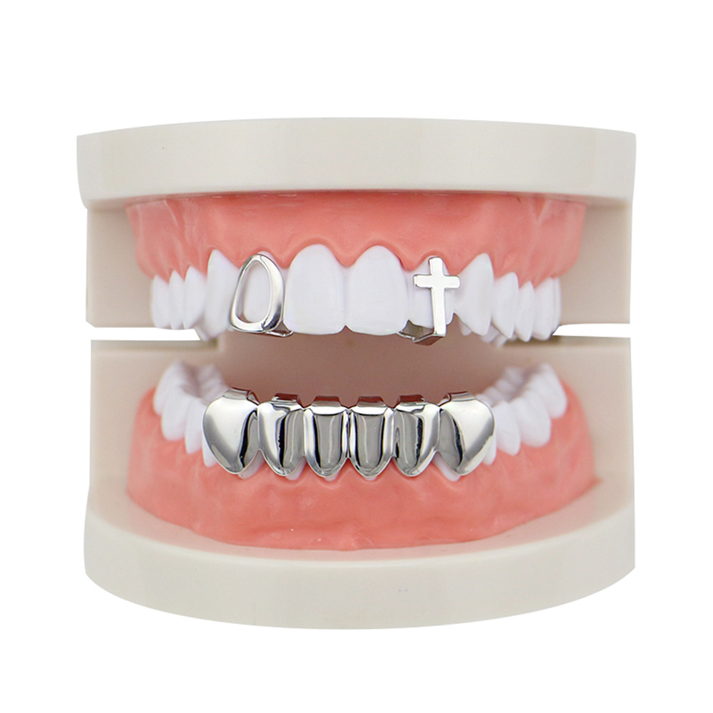 Factory Bottom Price Real Gold Plated Teeth Grillz Set Mixed Design Fake Tooth Grillz Hip-hop Cool Men Body Jewelry US Rap Artist Mouth Cap (3)
