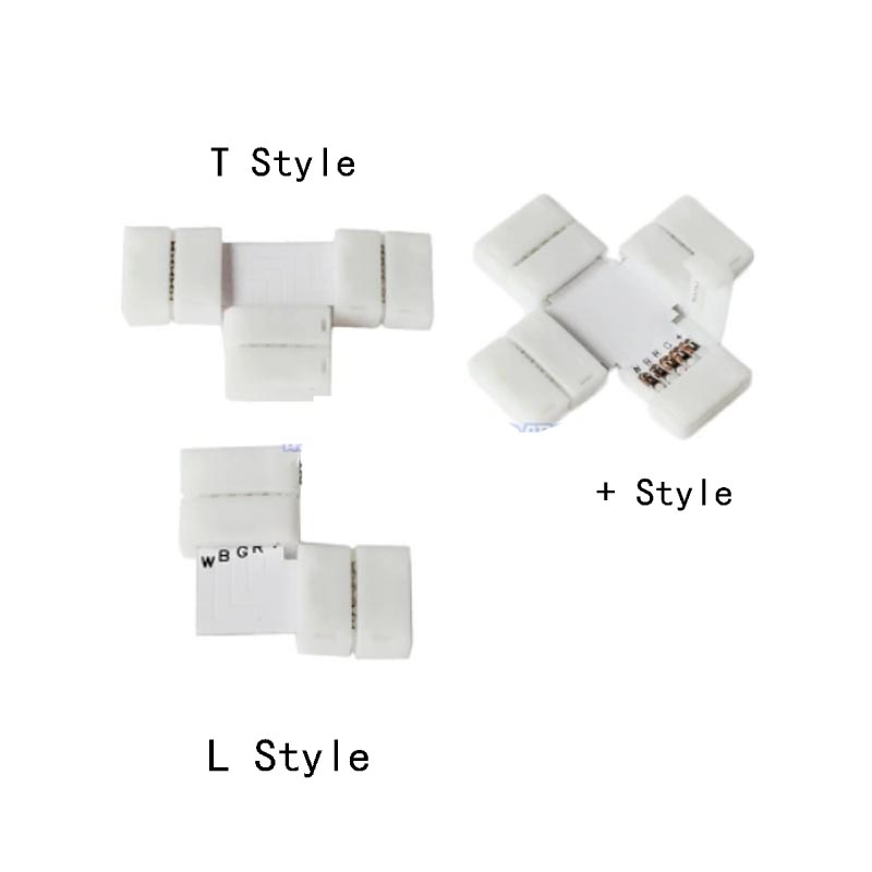 5pcs/lot L T + Style corner connector no soldering 4PIN 10mm 5050 RGB LED strip connector