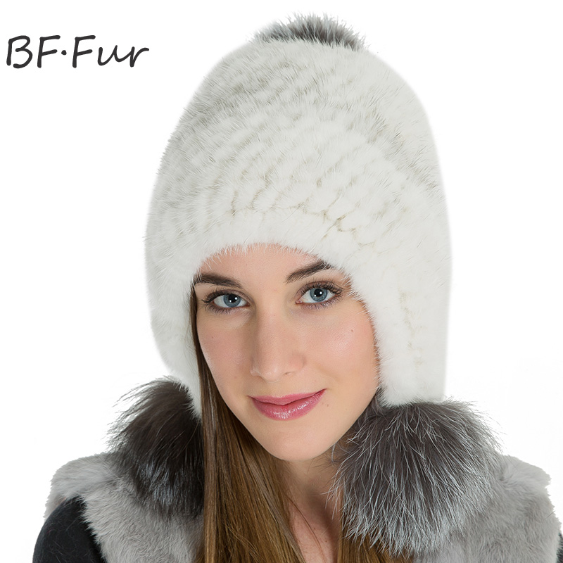 Russian Winter Warm Adult Beanies Female Real Mink Fur Cap Women Animal Pompom Ball Cap Solid Color Girls Casual white Bonnet russian real mink fur hat for female animal fur winter warm beanies fashion solid color cap natural color bonnet girls hats