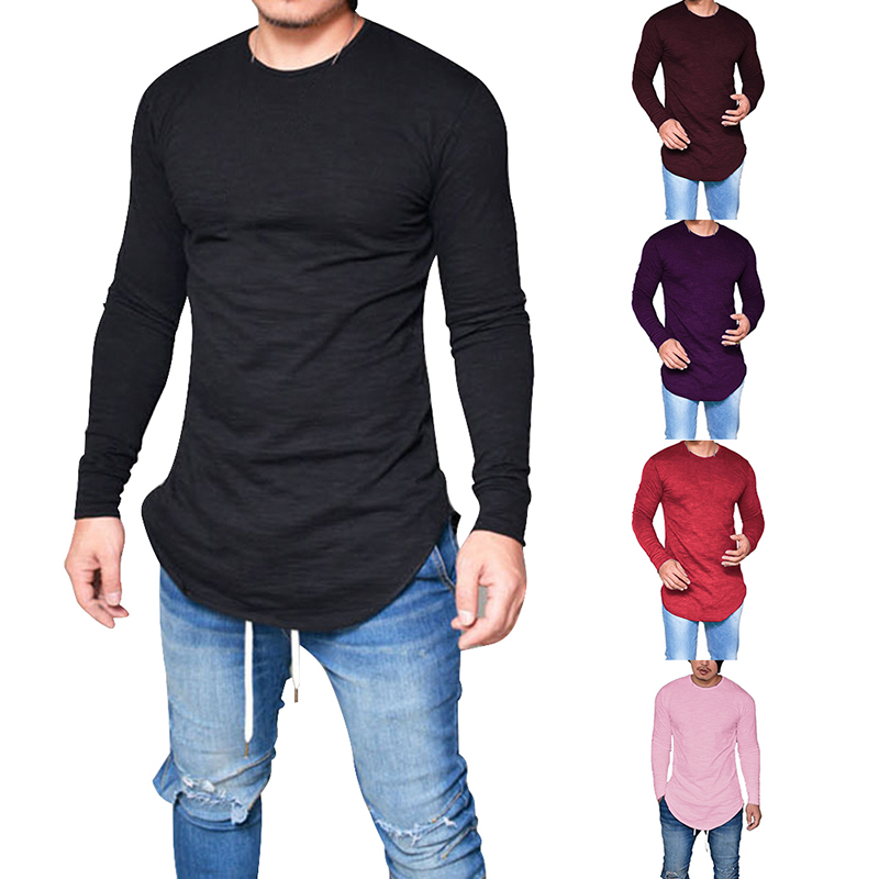 Laamei Men Casual Solid Round Neck Hip Hop Tshirt Fashion Long Sleeve Streetwear Male White T-shirt Clothes Plus Size 5XL