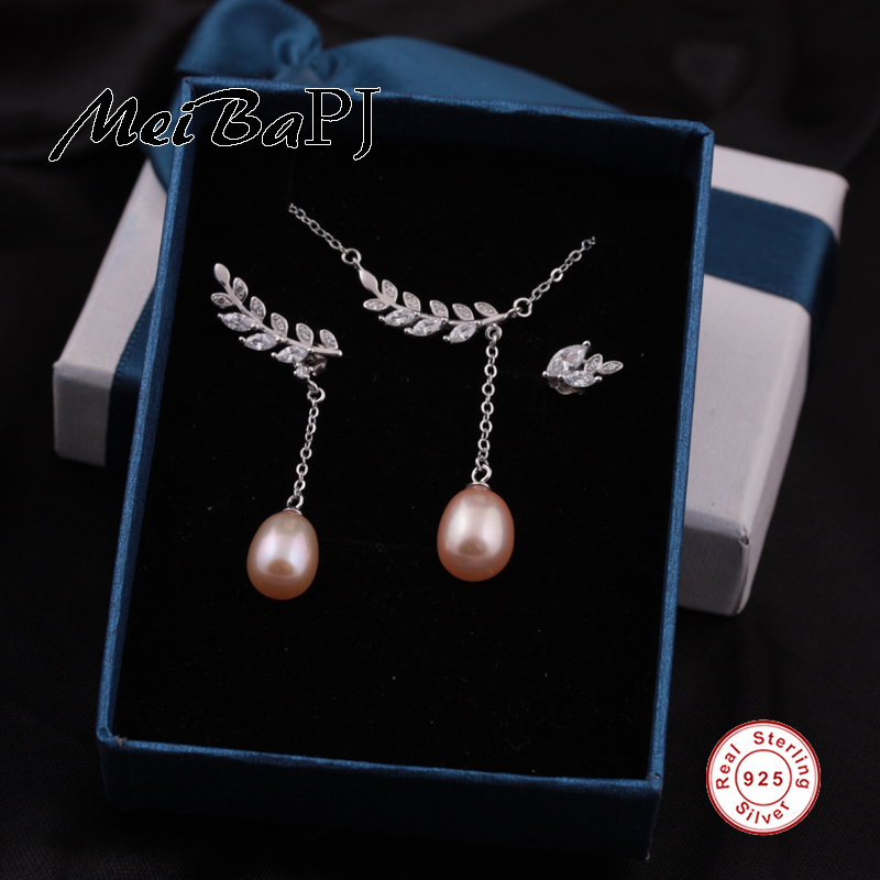MeiBaPJ 2018 New natural freshwater pearl fashion jewelry sets S925 silver pendant and earrings fine wedding jewelry for women