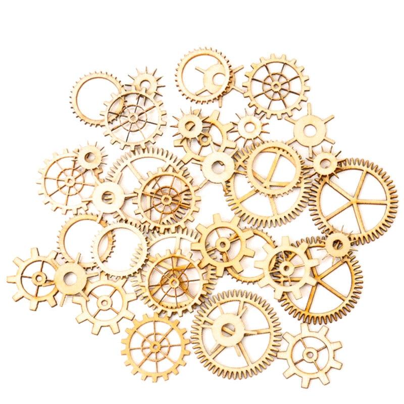 Mixed Wheel Gear Pattern Natrual Wooden Scrapbooking Hollow Craft Round Random For Handmade Home 20-36mm 36pcs MZ74-FD