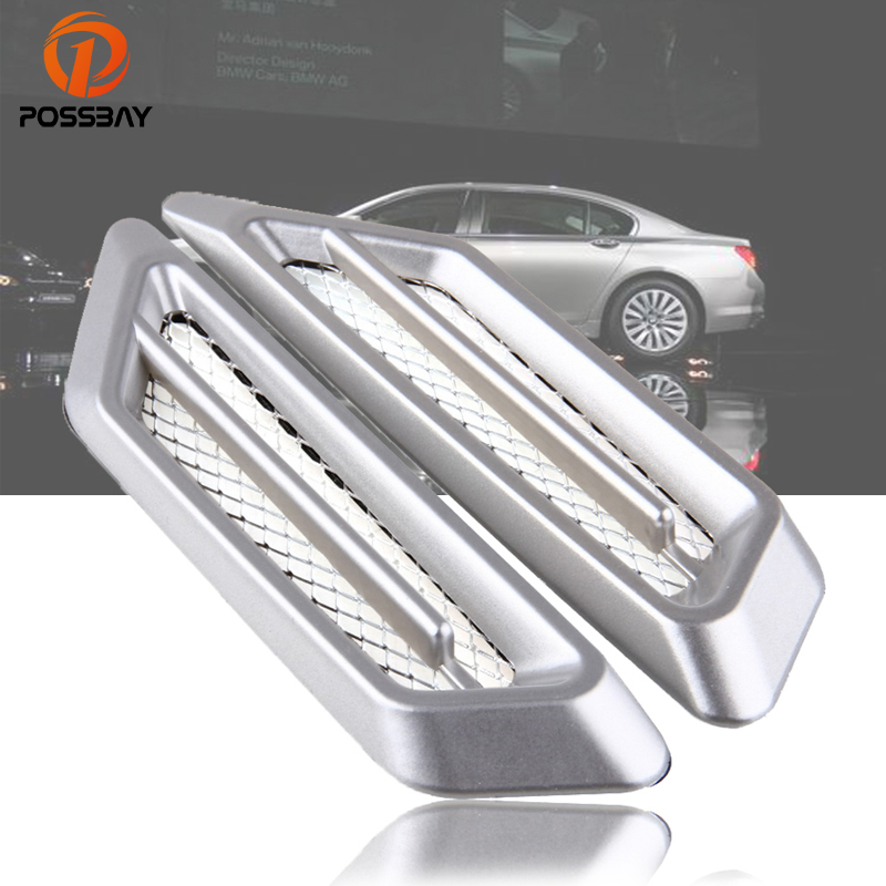 2pcs Universal ABS Car Hood Side Air Intake Flow Vent Cover Decorative Sticker