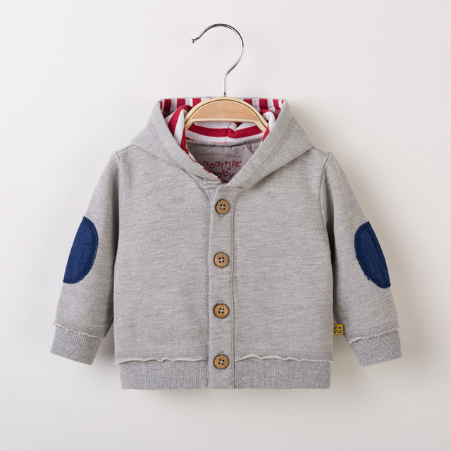 Spring and autumn children's 100% single breasted cotton sweatshirt outerwear long-sleeve sports top
