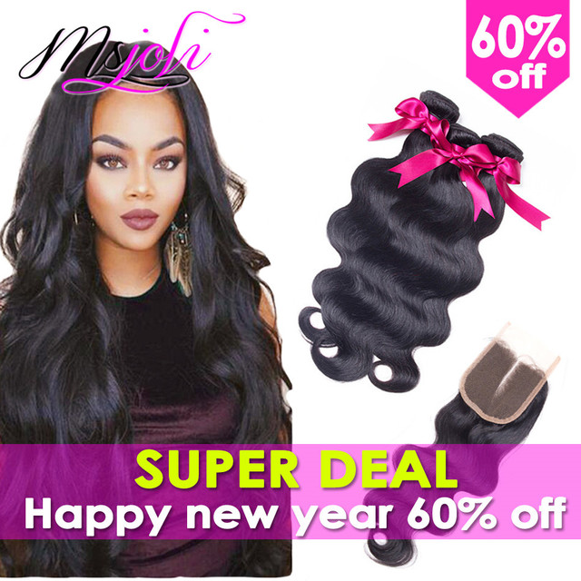 7A Body Wave With Closure Malaysian Virgin Hair With Closure 3 Bundles With Closure Body Wave Hair Lace Closure With Bundles