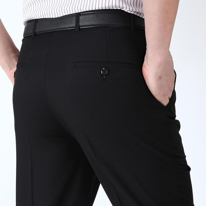 Big Size Men Formal Business Baggy Pants 29-50 Summer Male Stretch Office Thin Silk Dress Long Suit Trousers Work Pants For Mens