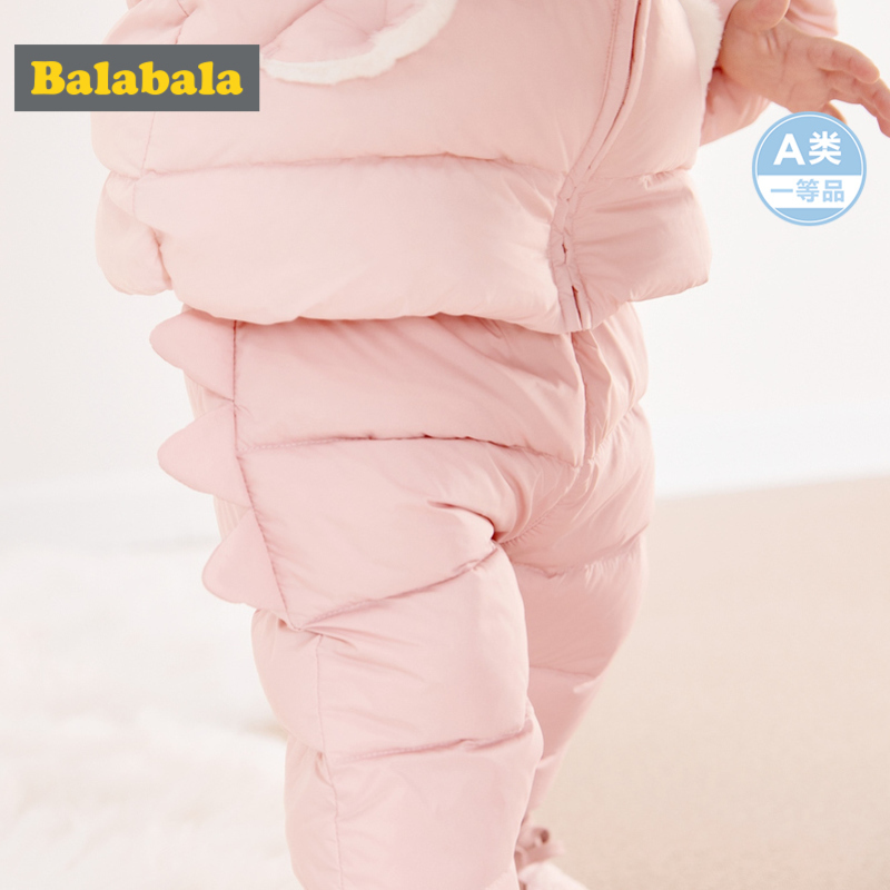 Balabala Infant Baby Boy Girl Dinosaur Quilted Puffer Pants Down Filling Newborn Babys Pants Ribbed Waist And Hem Chinlon Lined