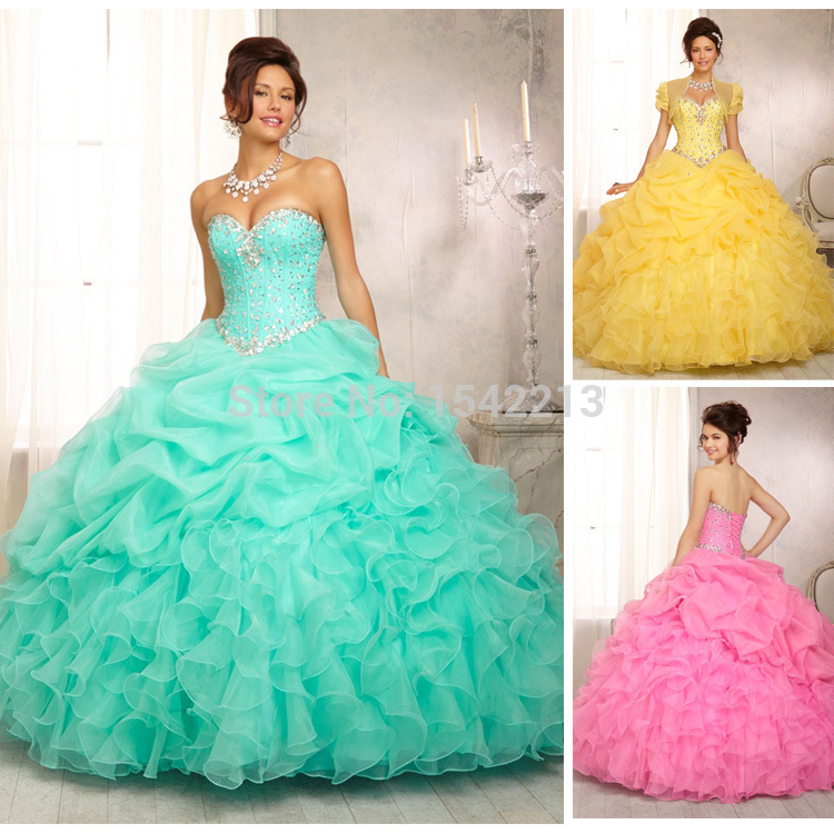Shiny Crystals And Draped Long Mint Green Yellow Pink Big Ball Gown ...