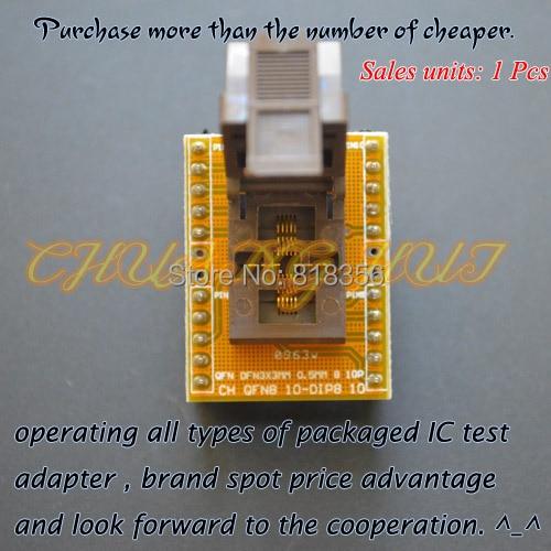 QFN10 to DIP10 adapter WSON10 MLF10 DFN10 socket Pitch=0.5mm Size=3x3mm