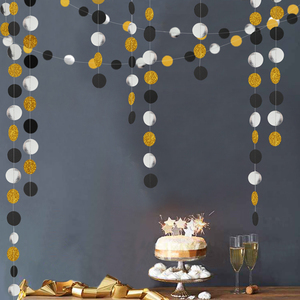 Image 3 - 4M 57pieces Party Banners Streamers Confetti Silver Black Gold Glitter Circle Polka Dots Graduation 2019 Paper Garland Banner