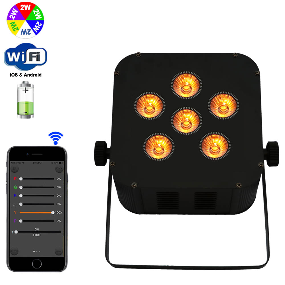Wireless Led Flat Par Battery Powered Wifi Mobile Dj Uplighting With iPhone/iPad/Android Smart Phone Control Stage Wash Lighting