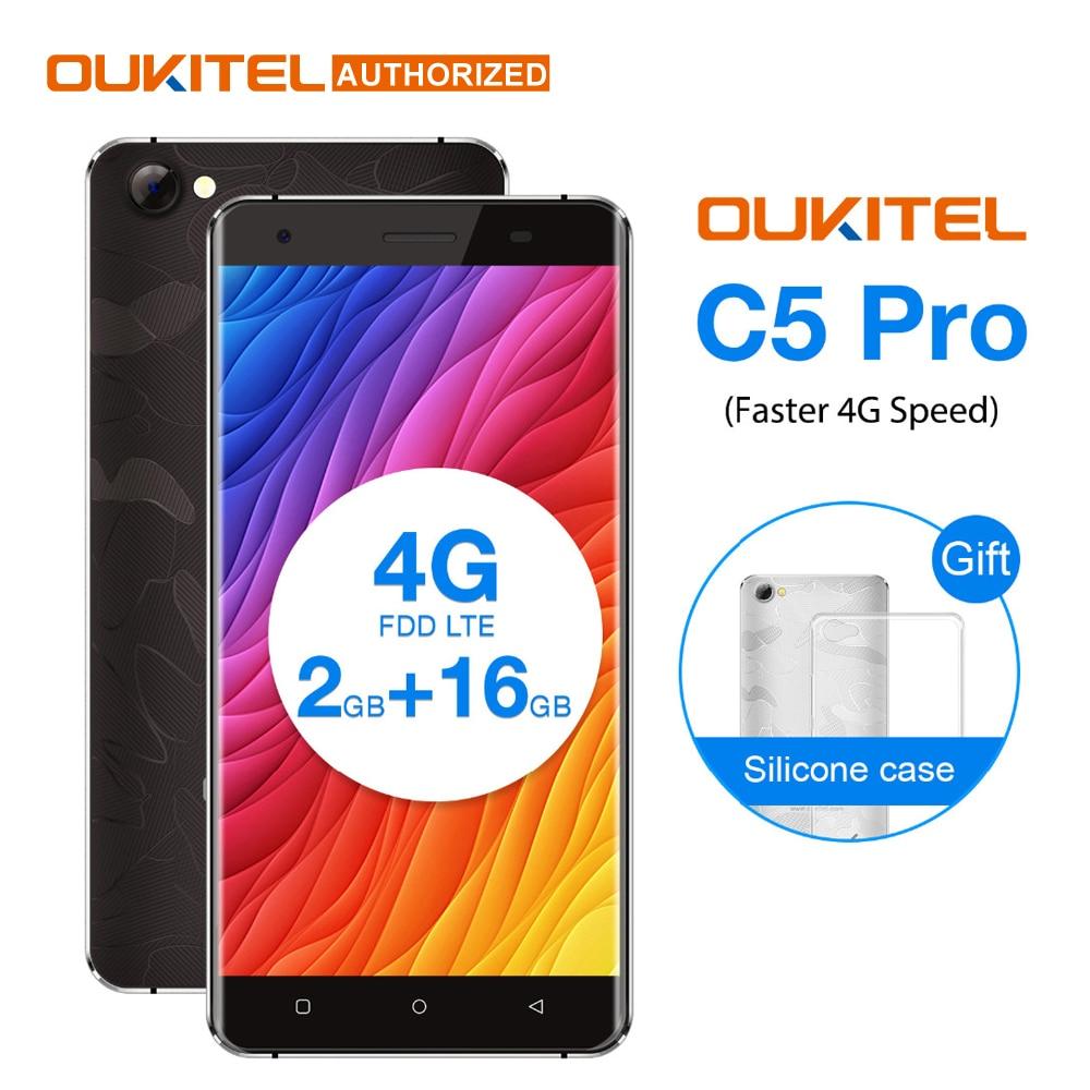 OUKITEL C5 PRO 5.0 pollice Android 6.0 4g Smartphone 2 gb + 16 gb MTK6737 Quad Core Cellulare 2000 mah GPS Del Telefono Mobile Dual Micro SIM