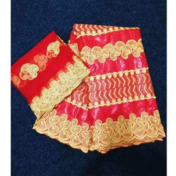 New 5 Yards Hand Make Bazin Riche Lace Fabric In Red Color Nigerian Ankara Unique Pattern Basin Women with 2yards net lace