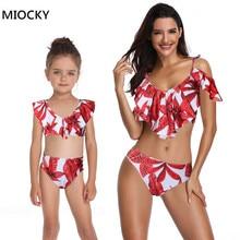 Mother and daughter swimsuit European Style Ruffled Print High Waist Two Piece mae e filha Bikini Summer Beach Swimwear E0147