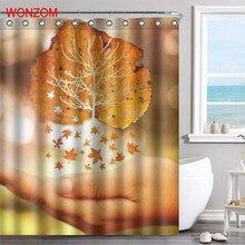 WONZOM 1Pcs Tree Flower Waterproof Shower Curtain Bamboo Bathroom Decor Plant Decoration Cortina De Bano 2017 Bath Gift