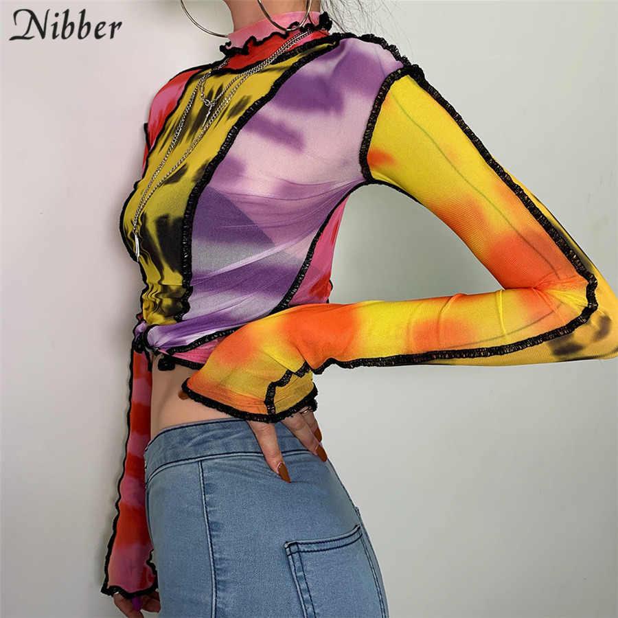 Nibber Fashion Mesh Cetak Warna-warni Ruffle Tops Wanita Dasar T-shirts2019autumn Hot Sale Tipis Slim Jalan Santai Tee Shirt Mujer