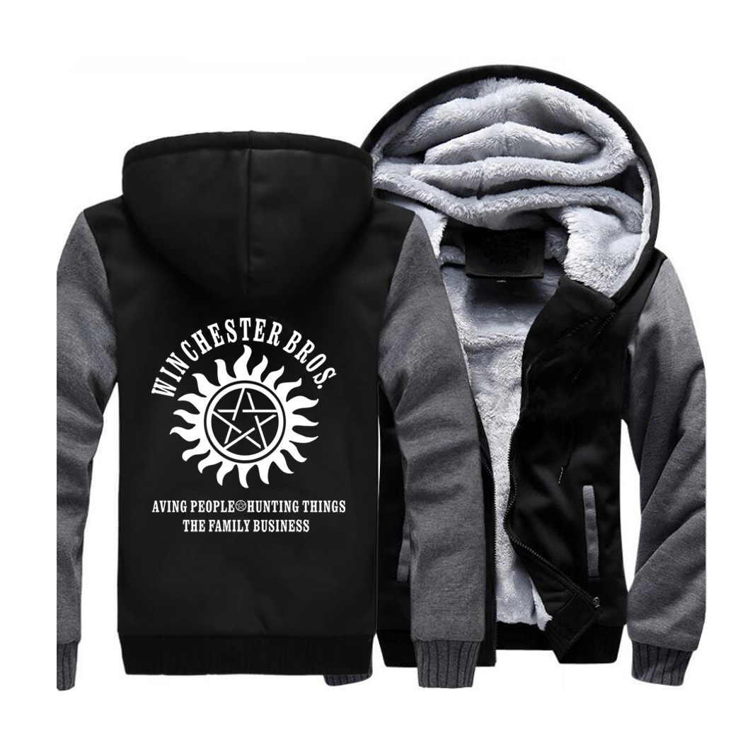 Supernatural Streetwear Hoodies Winchester Brothers Sweatshirt Men Winter Fleece Thick Hooded Sportswear Coat Hoodie Jackets