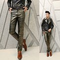 men fashion leather pants costumes nightclub punk leather man trousers Korean PU leather pencil casual pants male