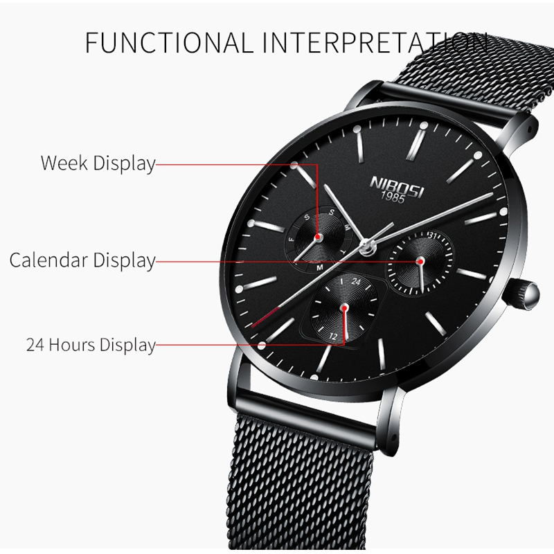 Image 3 - NIBOSI Mens Watches Slim Mesh Waterproof Minimalist Wrist Watch For Men Quartz Sport Watch Ultra Thin Clock Relogio Masculino-in Quartz Watches from Watches