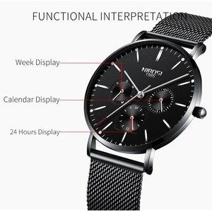 Image 3 - NIBOSI montre bracelet minimaliste pour hommes, mince, en maille, étanche, à Quartz Sport, Ultra mince