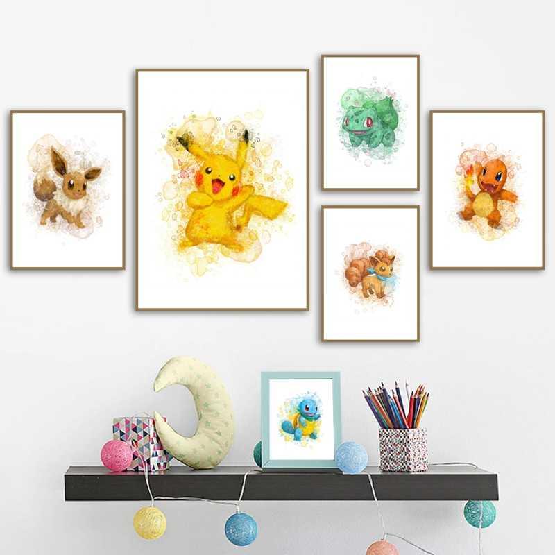 Покемон акварельные настенные художественные холст постеры картина Пикачу Eevee белки вульпикс чармандер настенные фотографии печать декор для детской комнаты