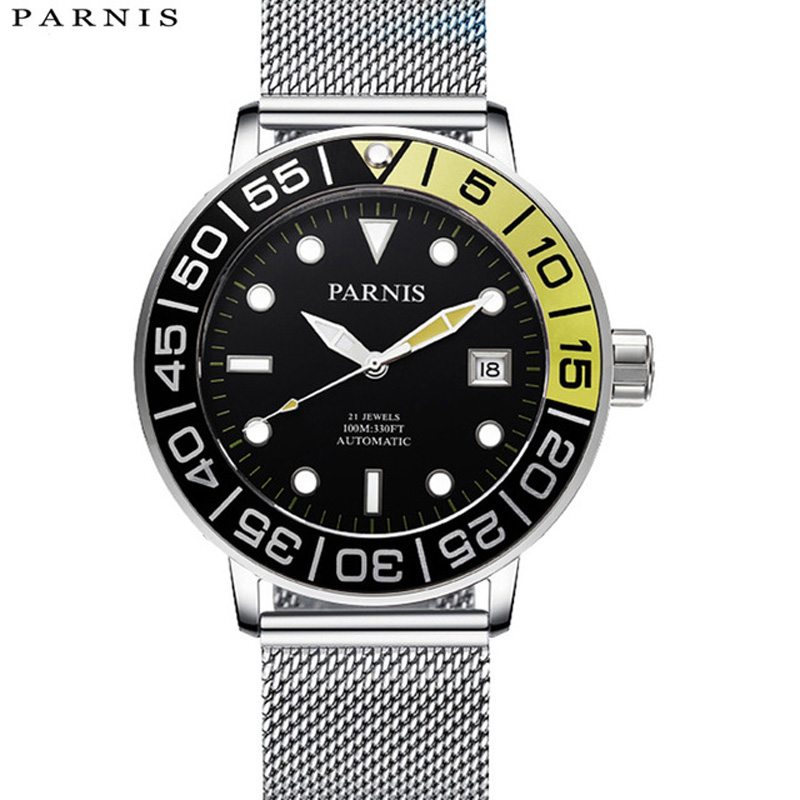 2017 New Arrival Mens Automatic Watch Parnis Stainless Steel Mesh Band Luminous Mechanical Watches Hombre Relojes de pulsera2017 New Arrival Mens Automatic Watch Parnis Stainless Steel Mesh Band Luminous Mechanical Watches Hombre Relojes de pulsera