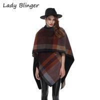 Lady Blinger coffee brown check plaid poncho women fashion winter wraps big size cashmere stoles lady large shawl female cape