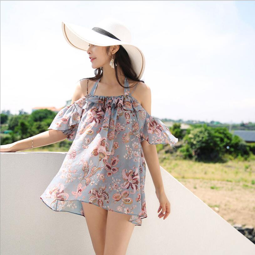 2019 New Printed Floral Three Pieces Swimwear Bikinis Summer Cover Up Off Shoulder Sexy Women High Waist Swimsuit Beachwear