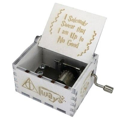 Прямая поставка, черная деревянная музыкальная шкатулка, игра в трон, Caja, музыкальная Zelda, ручная работа, Деревянная Музыкальная Коробка, рождественский подарок - Цвет: GB-HP1-WH