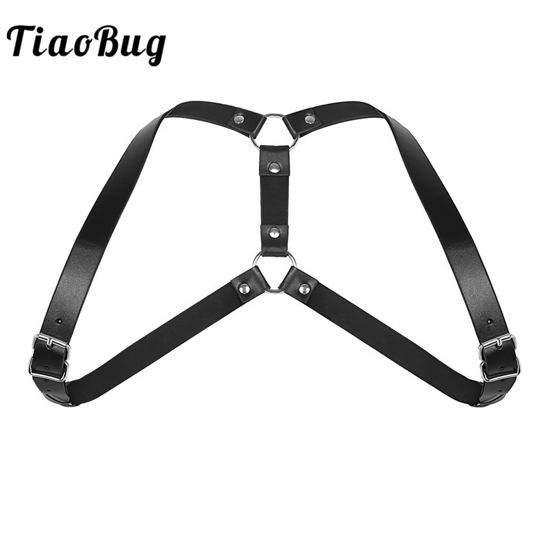 TiaoBug Men Black Adjustable Imitation Leather Double Shoulders Punk Costume Straps Men Harness Adult BDSM Bondage Belt Lingerie