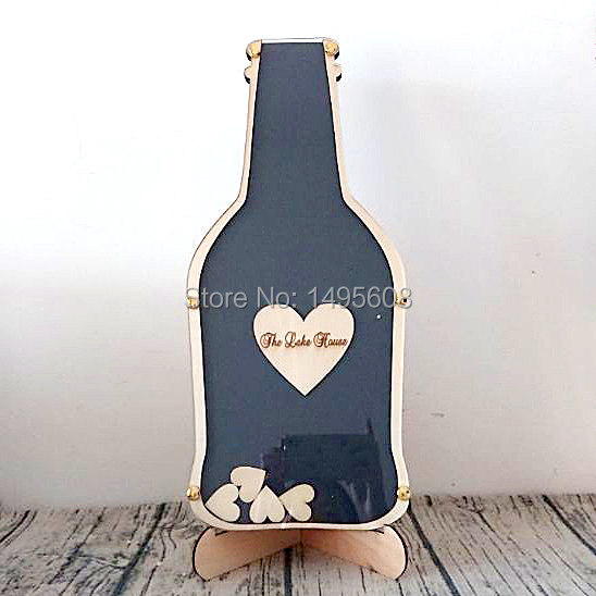 Personalized Wedding Guest Book Rustic Beer Bottle Shape Wooden For Signature Custom Drop Box