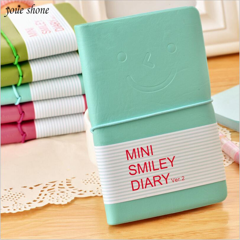 YOUE SHONE 1Pcs/lot Smile leather notebook Korean version diary notebook creative smile facial expression note pad
