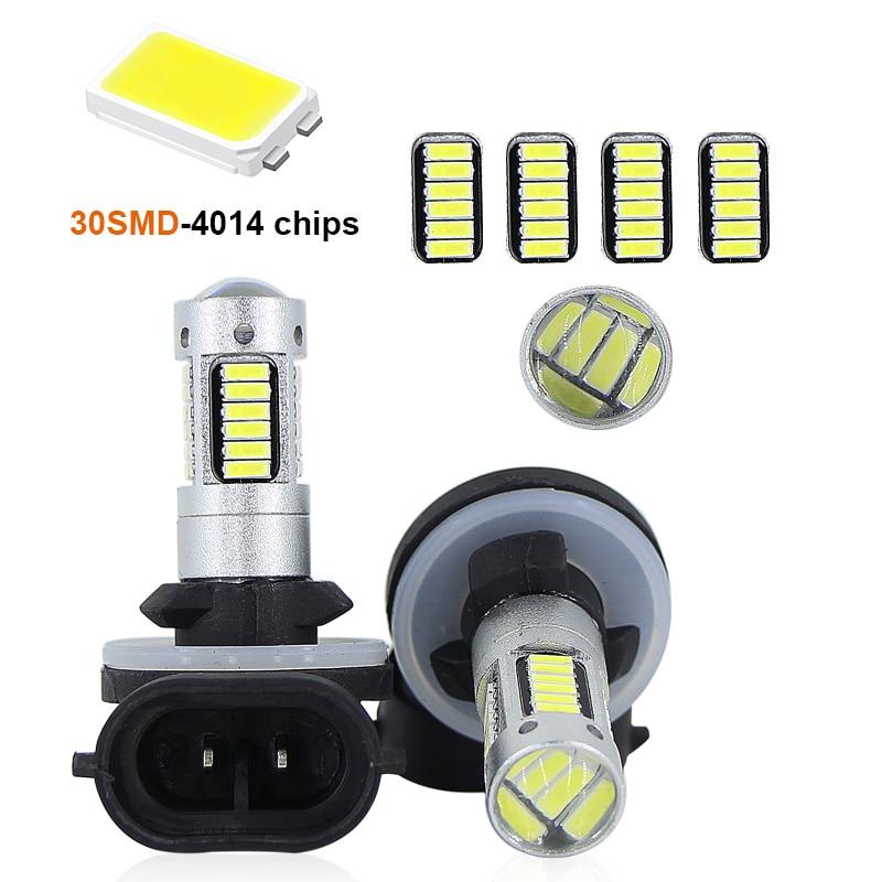 SAARMAT 2* High Power led car fog light 6000K White 30-SMD 4014 881 889 H27 H1 H3 LED Replacement Bulbs For Car Fog head bulbs
