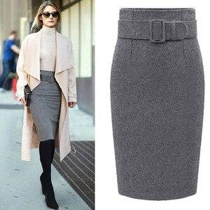 Image 2 - 새로운 패션 가을 겨울 스타일 2020 코 튼 플러스 크기 높은 허리 Saias Femininas 캐주얼 미디 연필 스커트 여성 스커트 여성 드