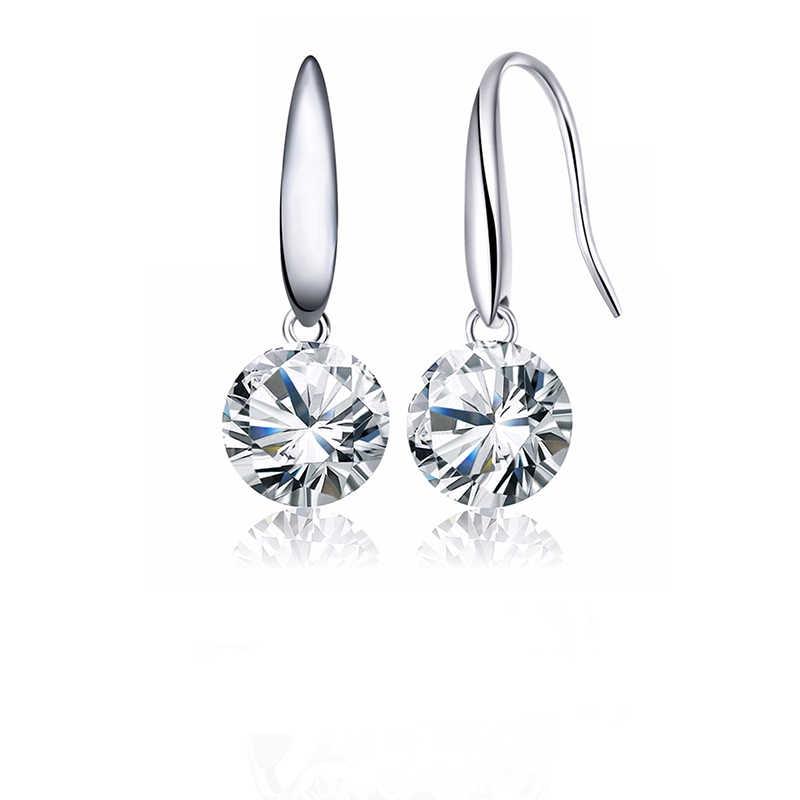 SUKI moda S925 pendiente de gota Chapado en plata redondo AAA zirconia cúbica cobre pendientes clásicos joyería para mujer regalo de boda