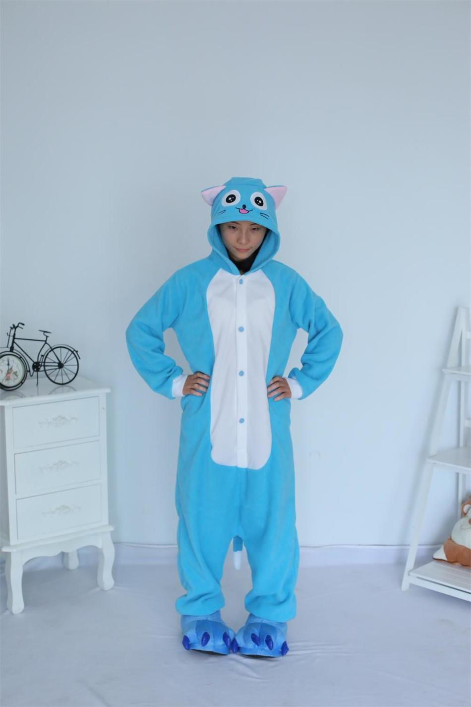 Kigurumi Cartoon Animal Blue Happy Cat Onesie Unisex Adulto Pijamas - Disfraces - foto 2