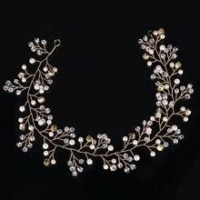 Fashion Gold Handmade Crystall Headband for Women Wedding Hair Jewelry Accessories for Bride Party Rhinestones Pearl headdress
