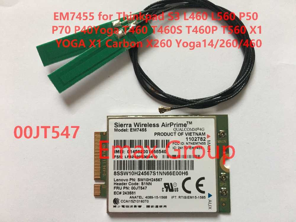 EM7455 FRU 00JT547 + Antenna per Thinkpad X1 Carbonio 5th Gen, l460 L560 P70 T460S T460P T560 X1 YOGA, X1 Carbonio 4th Gen, X260