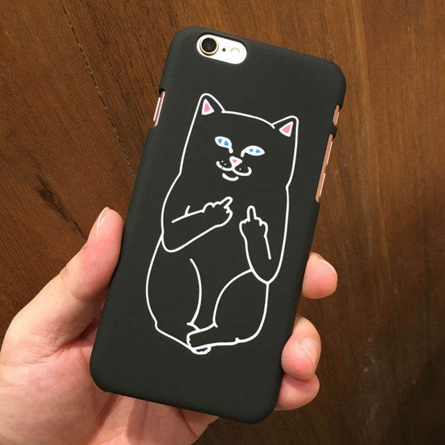 Black White Cute Cartoon Cat Phone Back Cover For iPhone 5S Case For iPhone 5 5S 6 6S Plus