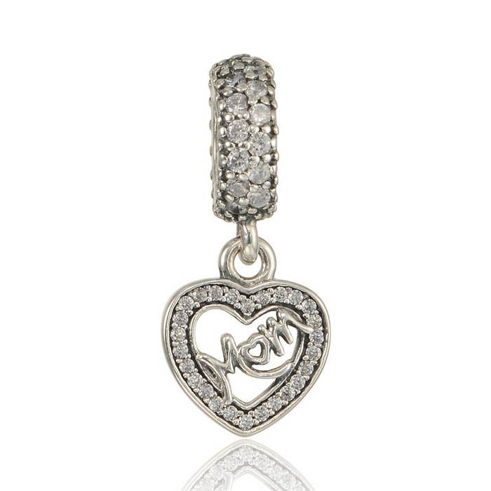Mum Heart Dangle Charms Beads With Cz 925 Sterling Silver