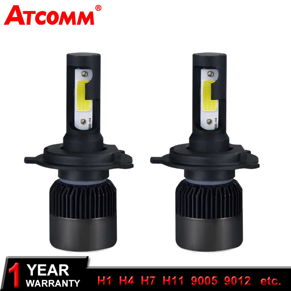 ATcomm 2 Pcs H4 HS1 Motorcycle LED Headlight LED H7 H1 H11 COB 4300K 72W 6500K White 8000Lm LED Motorbike Headlamp Fog Lights