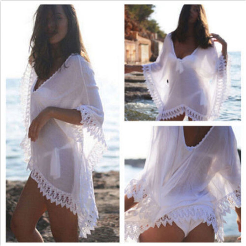 2016 Only One Size Women Summer Bathing Suit Sexy Lace Crochet Bikini Swimsuit Cover Up See