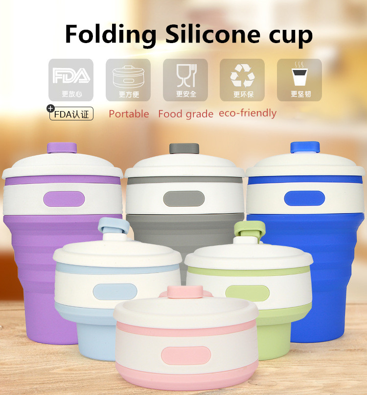 Hot New Collapsible silicone coffee cup 350ml Portable Folding cups Telescopic Drinking multi-function folding silica cup Travel