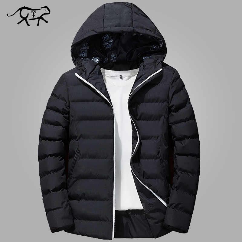 Зимняя куртка мужская брендовая Теплая стеганая с капюшоном воротник пальто  Модная Повседневная брендовая Парка мужская куртка 22172b0469e