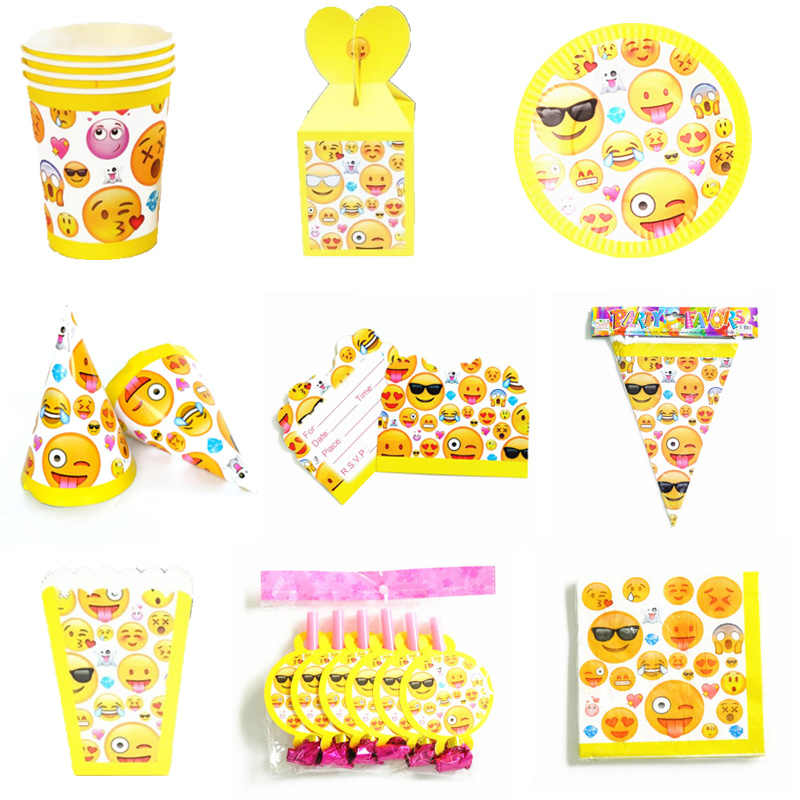 Emoji thema party set kids verjaardag gunst emoji platen cups servetten party hoeden tafelkleed emoji thema partij decoratie